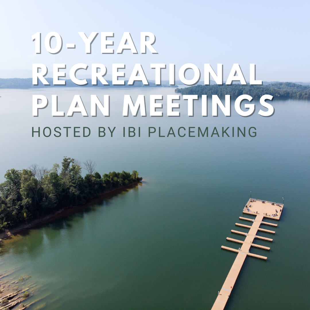 graphic for 10 year rec planning meeting overlaid on a photo of the dandridge boat dock