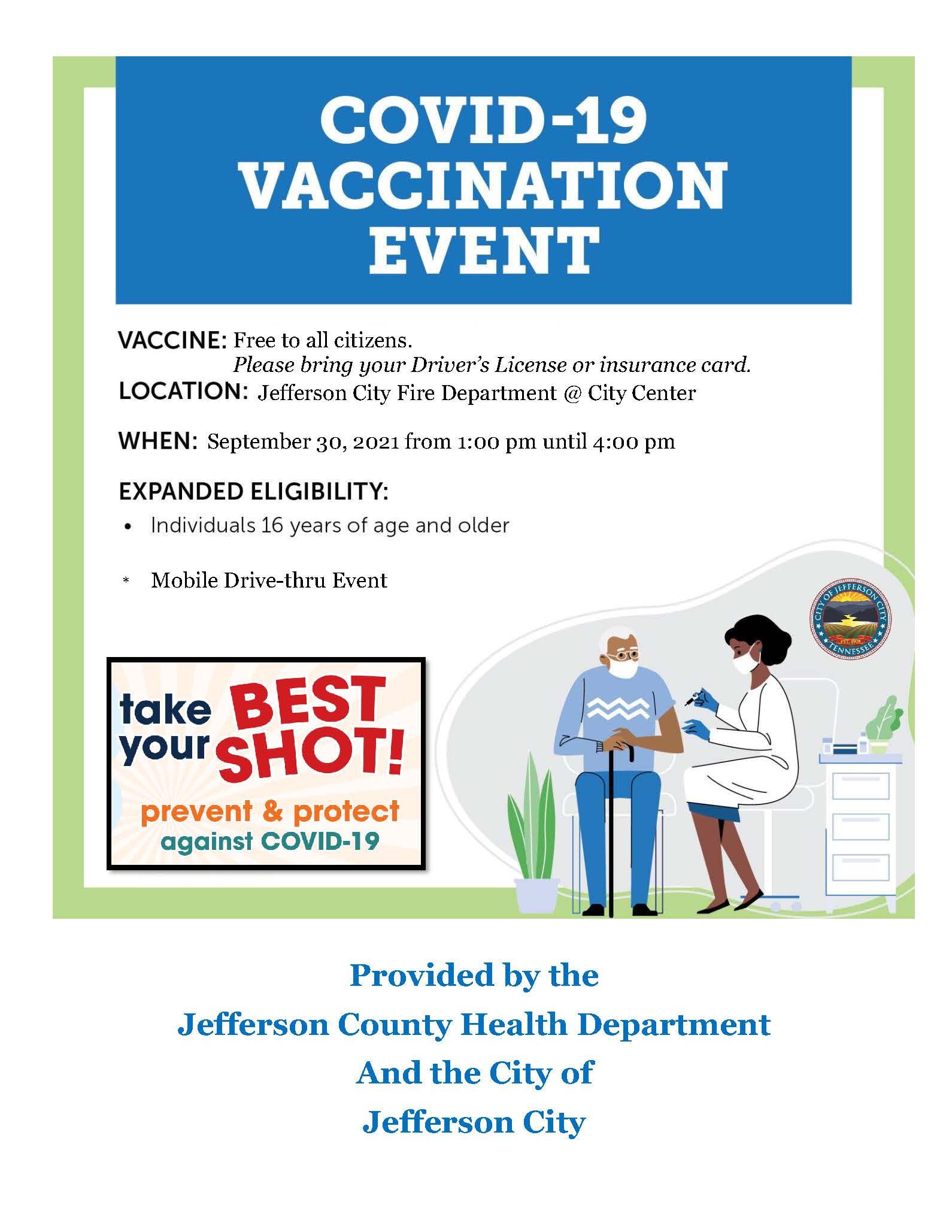 a flyer for the covid vaccination event happening in jefferson city tn